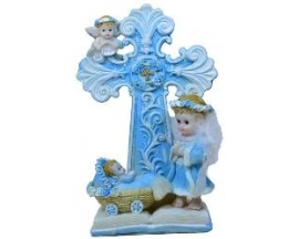 CERAMIC CROSS W/ANGEL FIGURE (12 PC)