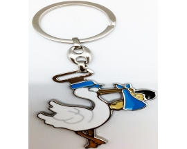 BABY SHOWERN STORK METAL KEY CHAIN(12 PC)