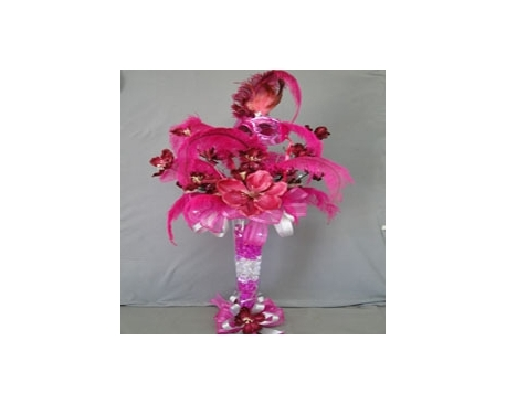 "24"" DECORATED TRUMPET VASE WITH LATEX FLOWERS AND FEATHER"