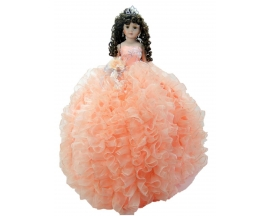 """QUINCEANERA RUFFLED PORCELAIN 22""""DOLL"""