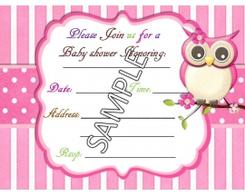 5X7 OWL BABY SHOWER INVITATION (25 PC)