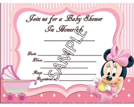 5X7 MINNIE BABY SHOWER INVITATION (25 PC)