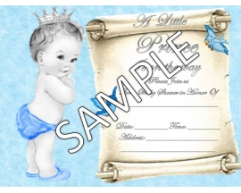 5X7 PRINCE BABY SHOWER INVITATION (25 PC)