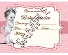 5X7 PRINCESS BABY SHOWER INVITATION (25 PC)