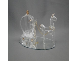 "3""x5"" Glass pumpkin Carriage w/Horse"