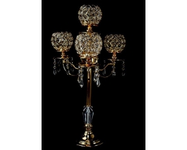 "24"" 5 Arm Gold Crystal Beaded Globe Metal Candelabra Votive Candle"