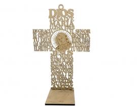 "12"" Wood Cross Prayer With Virgin (12 Pc)"