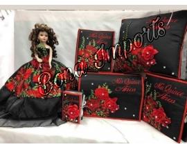 Mexican charra Rose Quinceanera Set